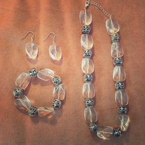 Lucite and silver earrings, bracelet and necklace